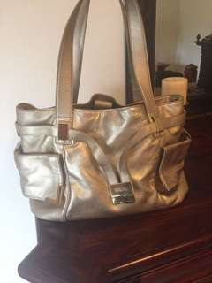 Authentic Michael Kors large pale gold metallic shoulder bag