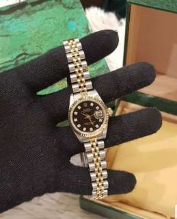Rolex Datejust Twotone Ladies Black Face with diamond dial 26mm Quickset ❤️BIG SALE189K❤️ In mint condition With box Check all you want. Guaranteed or your money back! Swipe for detailed pics  Cash/card/layaway accepted