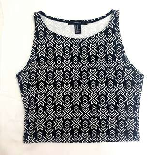 FOREVER 21 BLACK & WHITE AZTEC CROP TOP