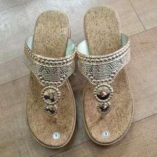 Last Pair! Gold Strap Wedge Sandals
