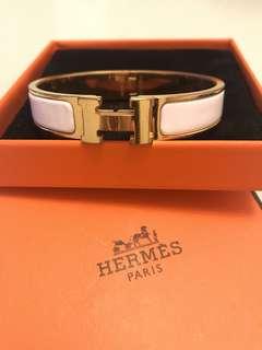 Hermes Clic H logo手鐲H扣白色金屬