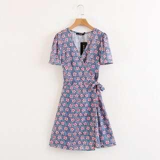 Pastel floral wrap around dress