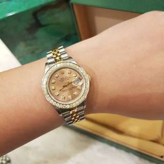 Rolex Ladies Datejust twotone 26mm salmon dial with dias and diamond bezel Quickset ❤️BIG SALE P215k ONLY❤️ In mint condition With box only Swipe for detailed pics