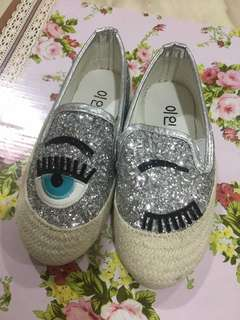 [N] girl shoes silver colour size 27 (Chiara ferragni glitter eye slip on sneakers design)