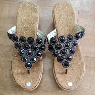 Last Pair!  Blk Strap Wedge Sandals
