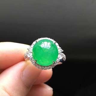 18K鑽石天然A貨翡翠戒指