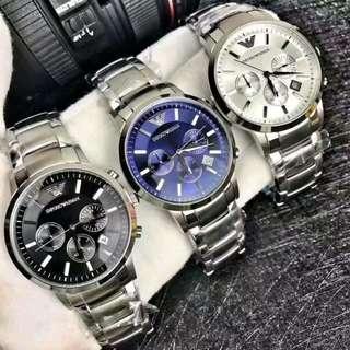 Armani 阿曼尼男錶三眼日曆鋼帶男士手錶休閒石英錶大錶盤AR2434 AR2448 AR2458
