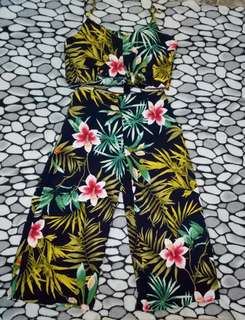 Floral Terno ( Halter Crop Top and Strechable Square Pants)