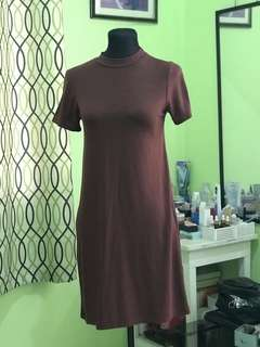 Brown Turtle Neck Dress