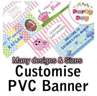 Customised PVC Banner for baby shower, Full Month and birthday
