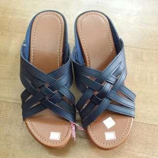 Last Pair! Navy Blue Ladies Wedge Sandals