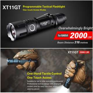 (FREE DELIVERY) KLARUS XT11GT Dual Switch 3,000 Lumens USB Rechargeable Tactical Flashlight