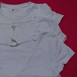 3 white shirts, 1 round neck and 2 v neck