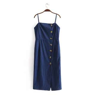 Denim button dress