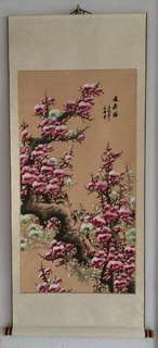 Chinese scroll painting白绿粉梅图