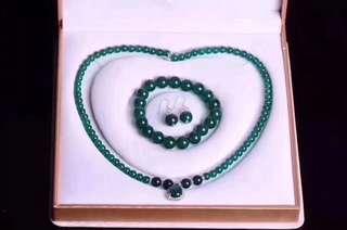 天然綠玉髓頸鏈+手鏈+耳環套裝