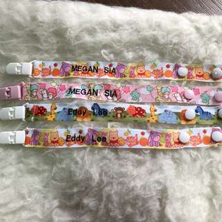 🚚 Handmade Pacifier Clip brand new can put name, personalise it, customise children items