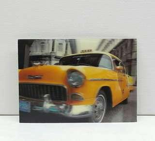 Vintage 3d Lenticular Postcard - Taxi Cab