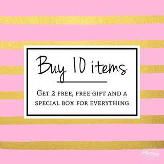 Buy 10 items - 2 Free + Free gift and box