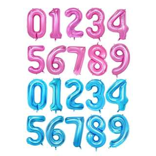 Each 40 Inch Pink/ Blue Colour Number Balloon (0 - 9)
