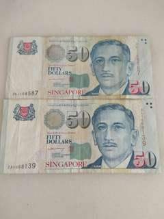 Singapore $50 portrait notes signed by LHL