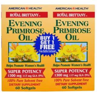American Health Royal Brittany Evening Primrose Oil 1300 mg 2 Bottles 60 Softgels Each