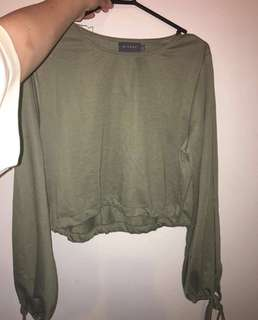 Khaki Green crop top