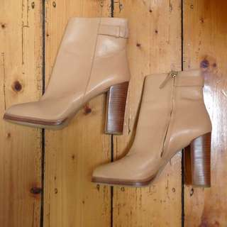 Zara Tan Brown Heeled Ankle Boots
