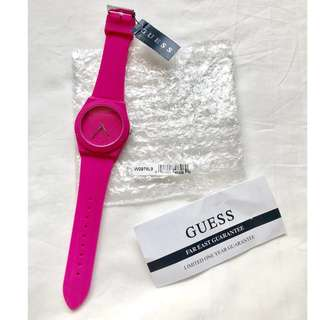 GUESS pink silicone sport watch 防水矽膠手錶