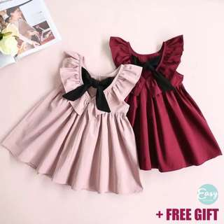 Kids Girl Dress with Back Ribbon