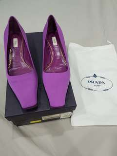 PRADA satin kitten heel pumps