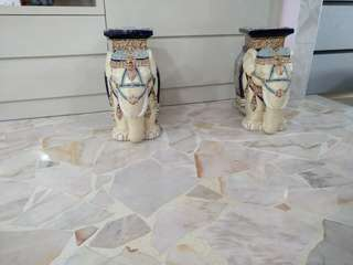 Display set . 2 ceramic elephant. Use as a stand for flowers, vase, table top holder.