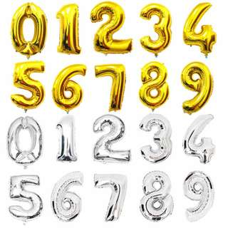 Each 40 Inch Silver/ Gold Colour Number Balloon (0 - 9)