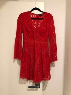 Bardot // Red lace dress