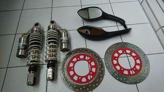 勁戰一代上下阻尼可調20段避震器 原廠碟盤兩個 後照鏡