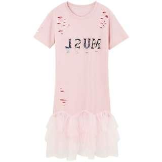 100% NEW全新可愛少女粉紅長T款連身裙