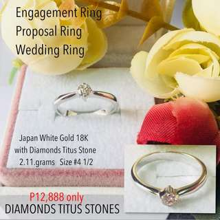 Japan White Gold 18k With Real Diamond Stone Engagement Ring Proposal Ring