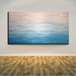 🚚 Blue Waves Abstract Art Oil Painting 50cm x 100cm