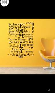 ✔Instock FAMILY RULES carved removable wall sticker diy home decor