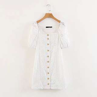 Eyelet embroidered buttoned dress