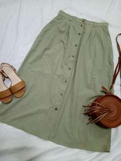 High waist button down skirt