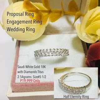 Saudi White Gold 18k With Real Diamond Stone Proposal Ring Wedding Ring
