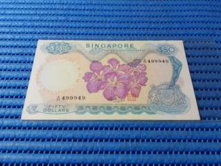 499949 Singapore Orchid Series $50 Note A/55 499949 Double Prefix 55 Nice Number Dollar Banknote Currency