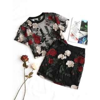 PRE ORDER Floral Embroidered Mesh Set