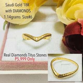 Saudi Gold 18k with Real Diamond Stone Proposal Ring Wedding Ring
