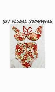 Orange Floral Swimsuit (Highwaist)