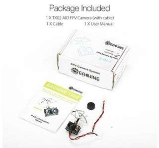 4🔥Eachine TX02 NTSC Super Mini AIO 5.8g 40ch 200mw VTX 600tvl 1/4 CMOS FPV Camera