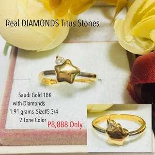 Saudi Gold 18k with Real Diamond Stone Proposal Ring Engagement Ring