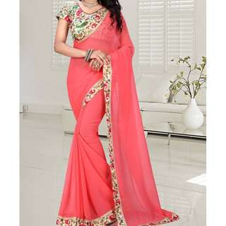 Peach saree with blouse