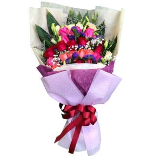 Radiant Love (24 Mixed Colour Roses Floral Bouquet)